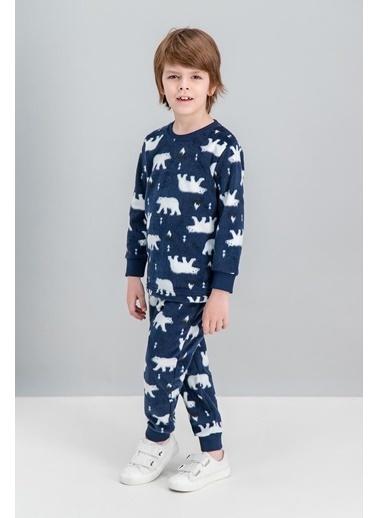 Roly Poly Rolypoly White Bear Gri Erkek Çocuk Polar Pijama Takımı Lacivert